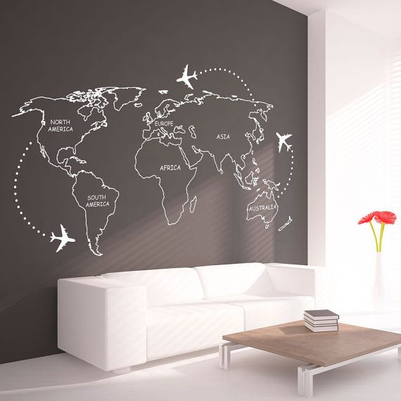 World Map Outlines With Continents Decal - Large World Map Vinyl Wall Sticker - World Map Wall Sticker
