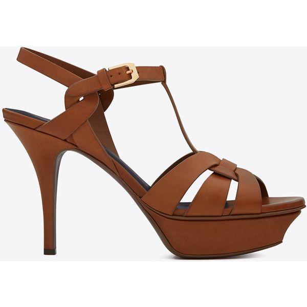 Saint Laurent Classic Tribute 75 Sandal (20.550 CZK) ❤ liked on Polyvore featuring shoes, sandals, caramel, strap sandals, mid-heel sandals, stiletto sandals, mid heel sandals and platform sandals
