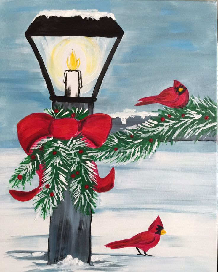 Beginners Acrylic Painting Fun Christmas Painting