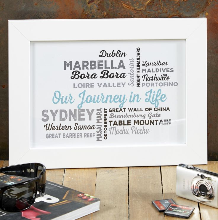 Our Journey in Life personalised print. Name check all your favourite places, and see your design come to life as you type. From £14.99