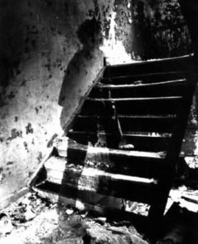 This photograph was taken during the Civil War. A ghost, believed to be that of a dead soldier, was captured walking up these stairs in a basement