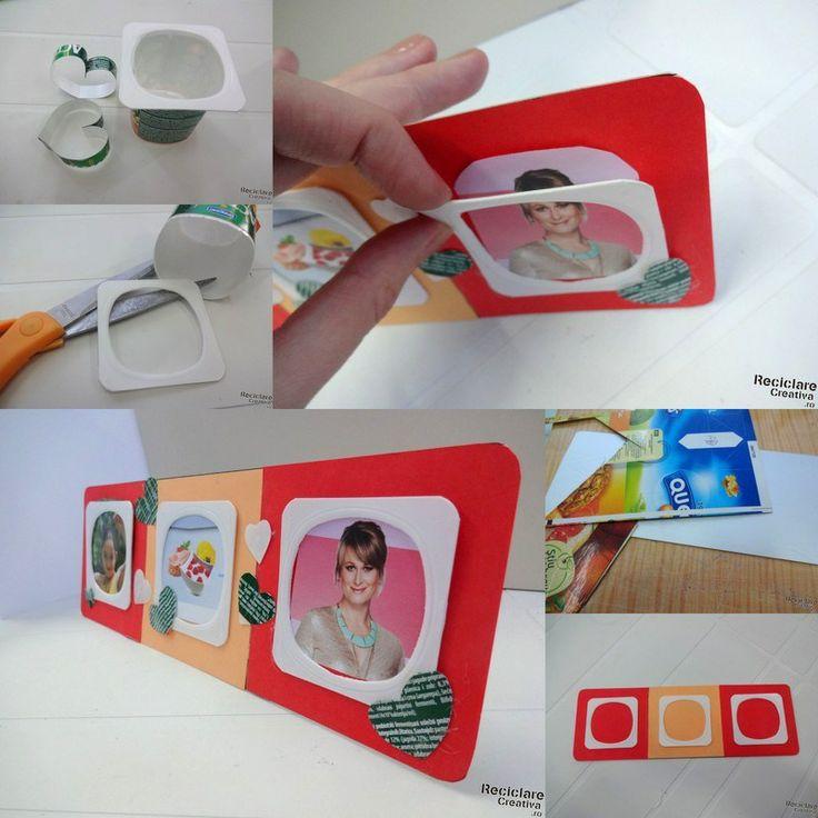 Rama foto din carton si cutii de iaurt   Reciclare Creativa Reciclare Creativa