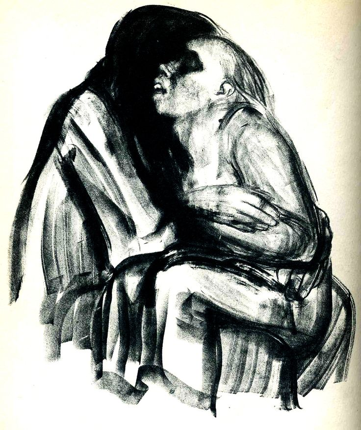 Käthe Kollwitz, lithograph, Young Girl in the Lap of Death (1934) From the series Death