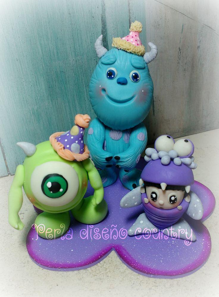 Topper para pastel de cumpleaños de pasta flexible o pasta francesa o porcelana fría de Monster Inc babies