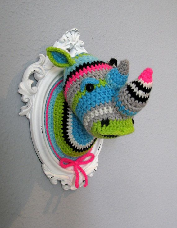 Crochet rhino head in a wooden white frame by ManafkaMina on Etsy, ₪450.00