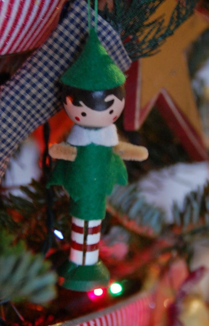 Plaid monograms natural wood ornaments feathers and i couldn t - I Have Had The Idea To Make Clothespin Elves For My Tree For Quite Awhile But Couldn T