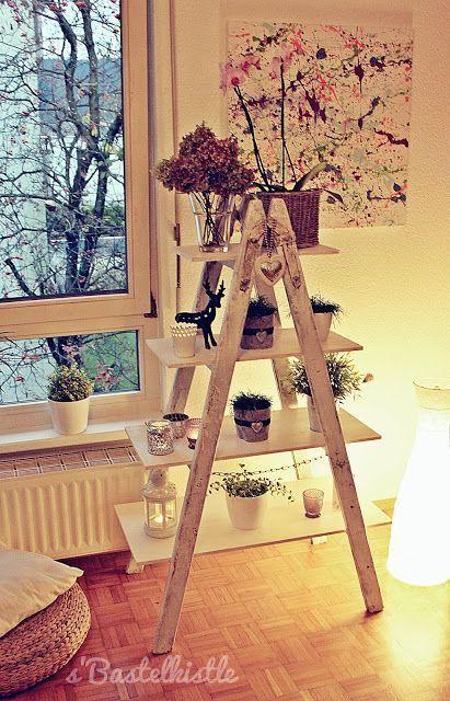 s & # 39; Bastelkistle: Regal von einer alten Leiter   – Diy Möbel und Heimwerken