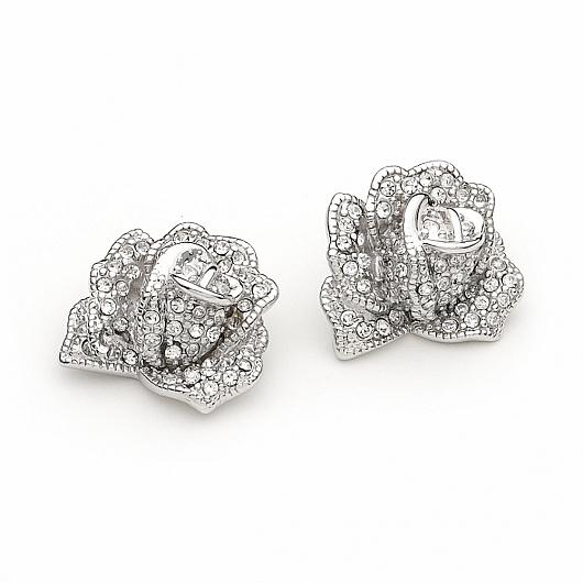 Mille Fleurs Rose Swarovski Wedding Earrings