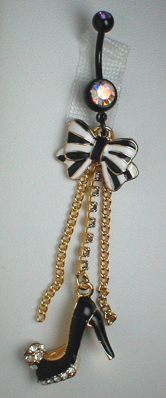 Unique Belly Ring  Black High Heel and Bow by pondgazer2004, $15.95