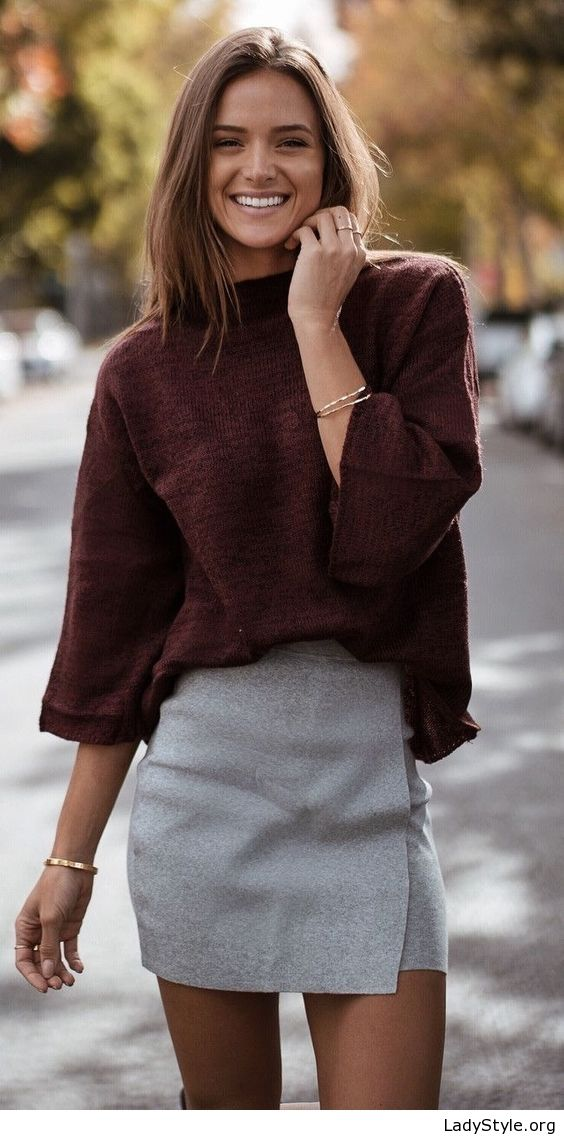 Brown blouse and grey skirt - LadyStyle