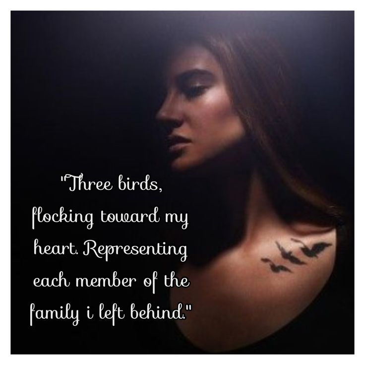 """""""Three birds flocking toward my heart. Representing each member of the family I left behind"""""""