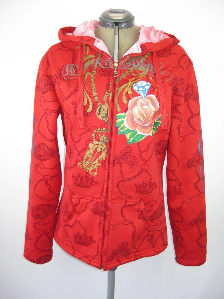 Womens Red Hoodie Jacket Size 2XL Love Kills Slowly Full of Grace Mary Zip Up #LoveKillsSlowly #Hoodie