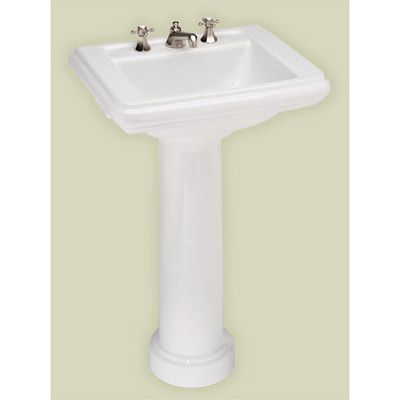 St. Thomas Creations Celebration Petite Pedestal Lavatory Sink   8 Inch  Faucet Drillings 22 5