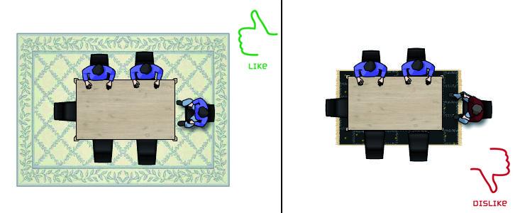 La giusta dimensione tappeti per la sala da pranzo, Quanto deve essere grande un #tappeto? http://www.carpeteden.it/tappetiarredamento