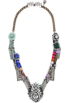 Bright blue, neon pink and clear crystal necklace. By Shourouk.