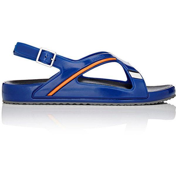 Prada Men's Rubber Crisscross-Strap Sandals (€305) ❤ liked on Polyvore featuring men's fashion, men's shoes, men's sandals, blue, mens buckle sandals, prada mens shoes, mens buckle shoes, mens blue shoes and prada mens sandals