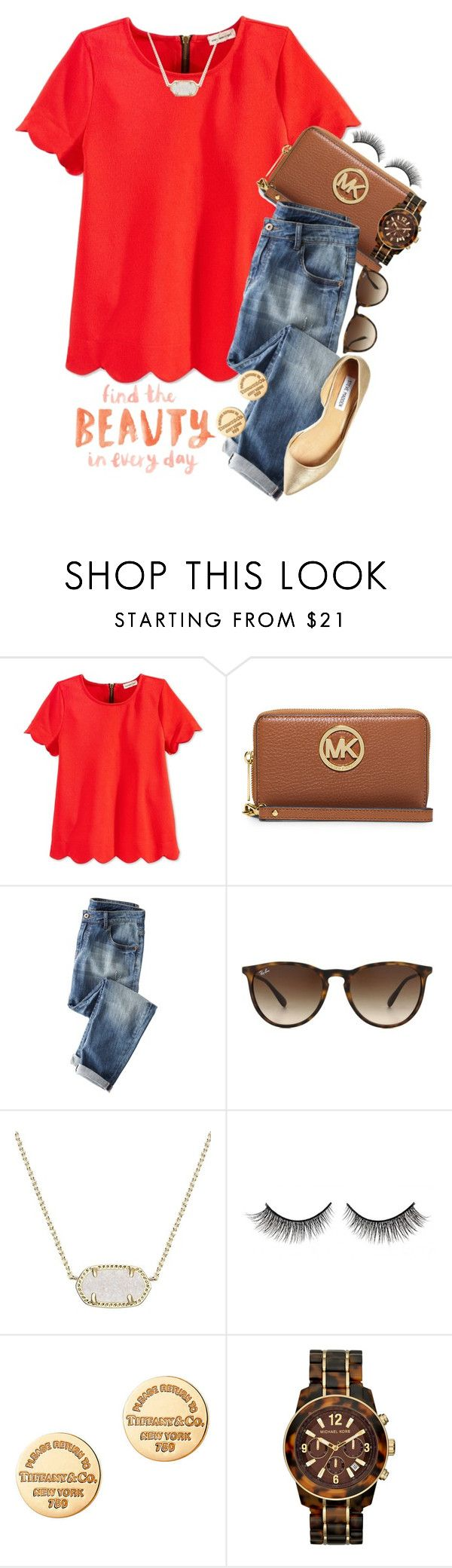 """fuller house is cute!!!"" by preppy-southern-gals ❤ liked on Polyvore featuring Monteau, MICHAEL Michael Kors, Wrap, Ray-Ban, Kendra Scott, Rimini, Tiffany & Co., Michael Kors and Steve Madden"
