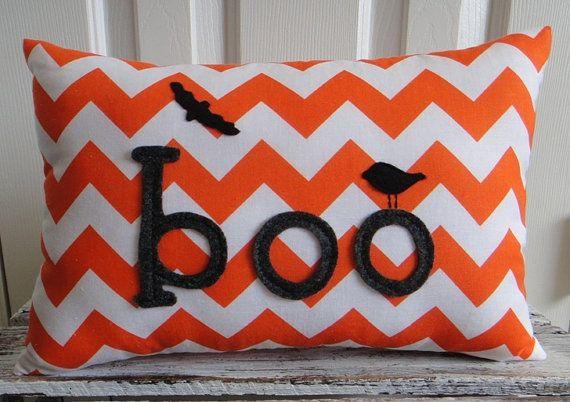 BOO. Orange Chevron Halloween Pillow by cloverlaneboutique on Etsy