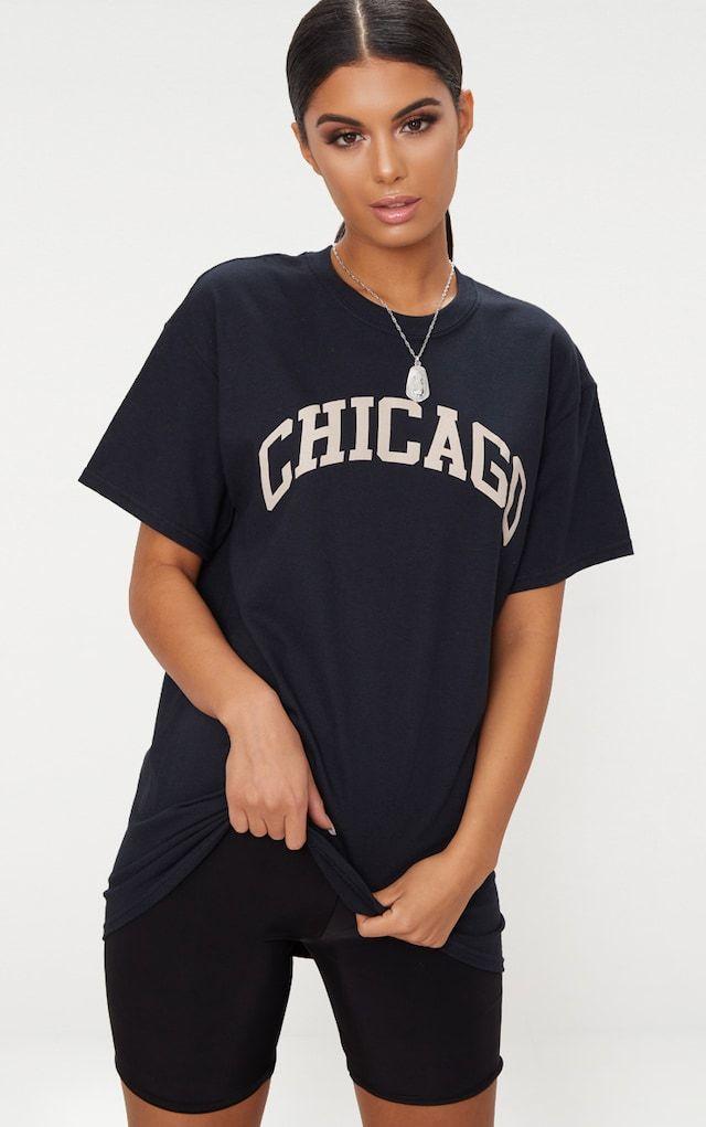 Black Chicago Slogan Oversized T Shirt