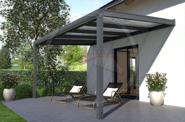 REXOpremium Titan Alu Terrassendach 5m x 4m, mit Massivplatten