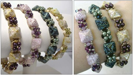 Pyramid bead bracelet - detailed tute by Deborah Roberti from Around Beading Table. Better pix from Red Panda but you have to click through for tute.  #Seed #Bead #Tutorials