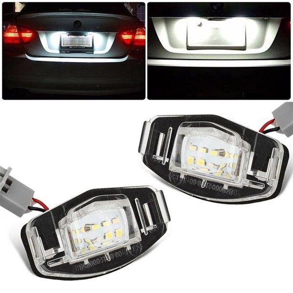 2pcs White 18 Led License Plate Light Direct Fit For Acura Tl Tsx Mdx Honda Civic Accord Wish Honda Civic Black Honda Honda
