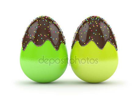 3d rendering of Easter eggs with chocolate glaze and sprinkles — Stock Photo © ayo888 #141495622