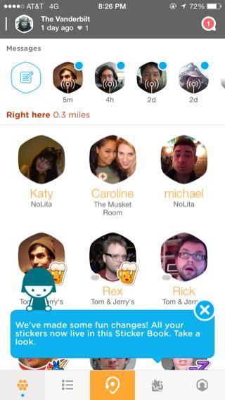 Swarm iPhone popovers, home screenshot