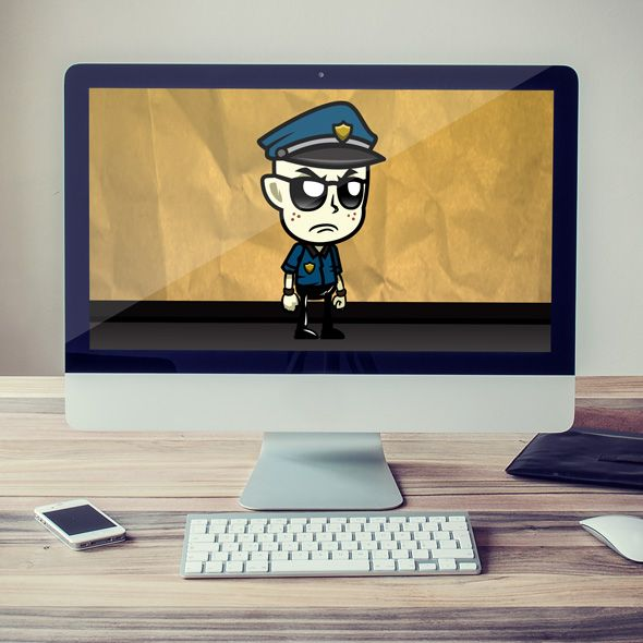 Running & Jumping grumpy cop, male Game Character Sprites