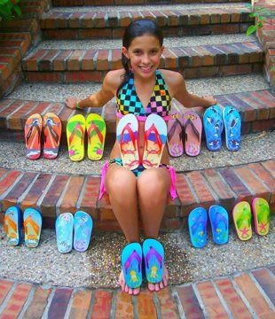 Young entrepreneur Madison Robinson with her Fish Flops. Madison is someone we often mention in our presentations to children at schools.