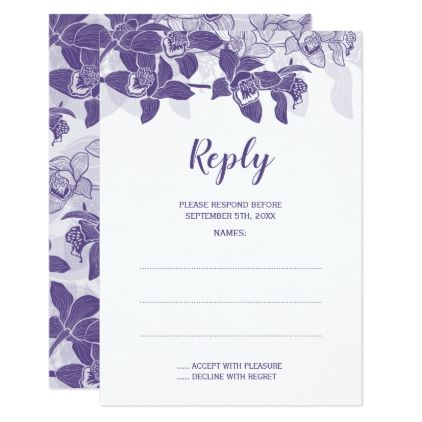 Elegant Violet Orchids Wedding Reply Cards - purple floral style gifts flower flowers diy customize unique
