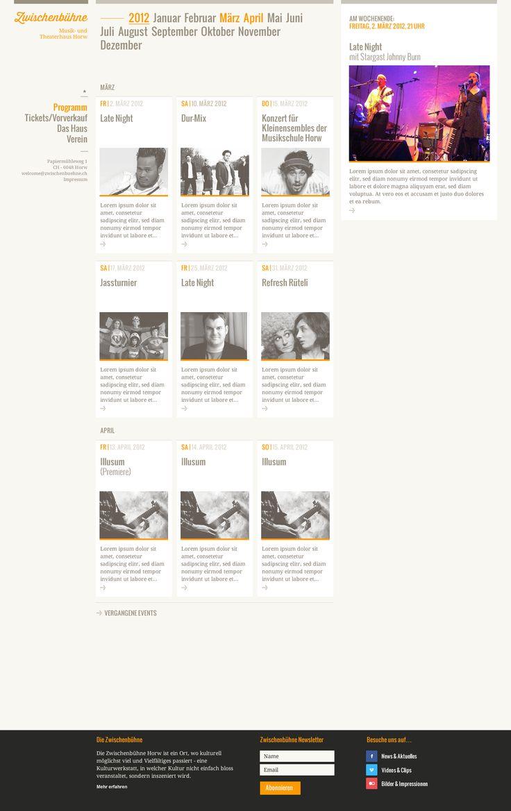 Webdesign Zwischenbühne, Event Kalender, UX/UI