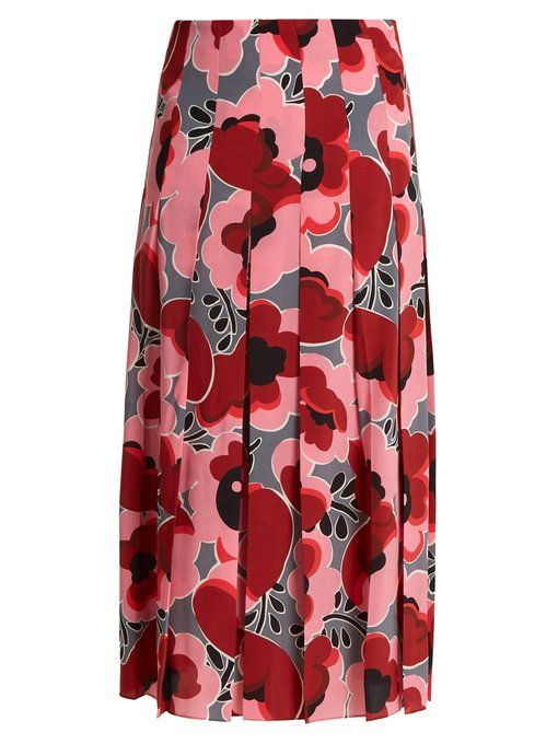 7f13f6cb2d4f3c Gucci Poppy-print pleated silk crepe de Chine skirt