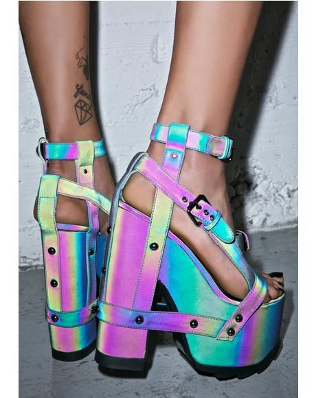 Nightcall Reflective Platform Heels