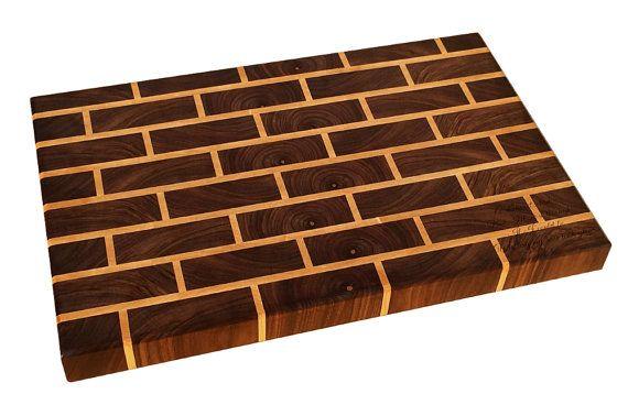 Walnut & Maple Brick Pattern End Grain Cutting Board by NicheWood #nicheboards #dreamsturnedwood