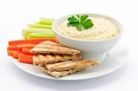 50g reduced fat houmous with veg crudites and half a slice of pitta