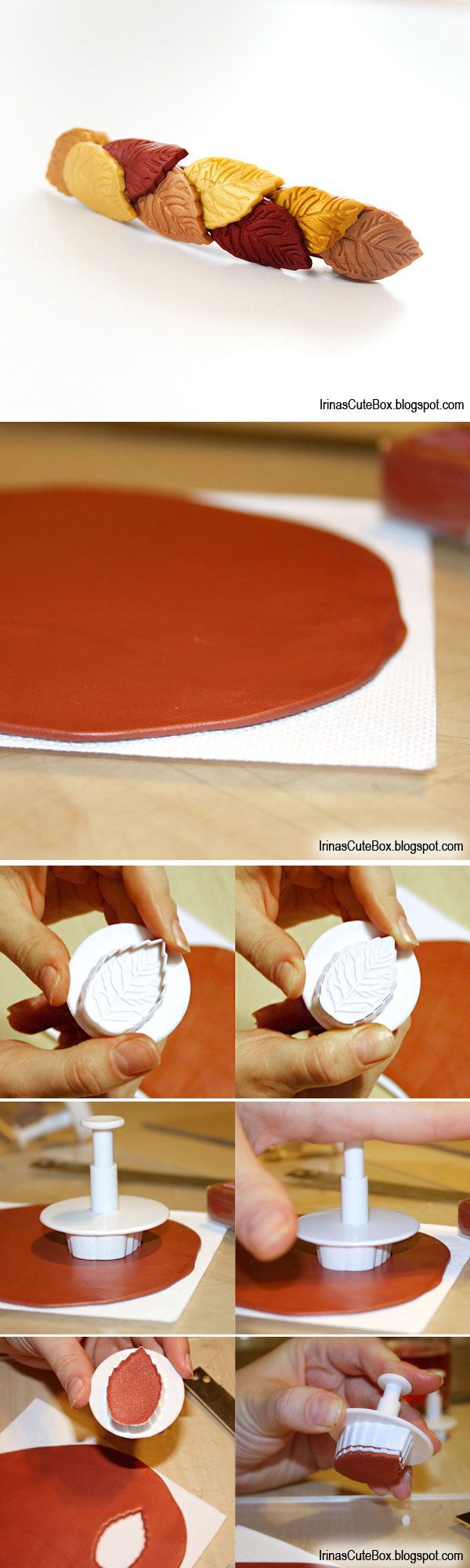 How to make polymer clay leaves with a cutter. #Polymer #Clay #Tutorials
