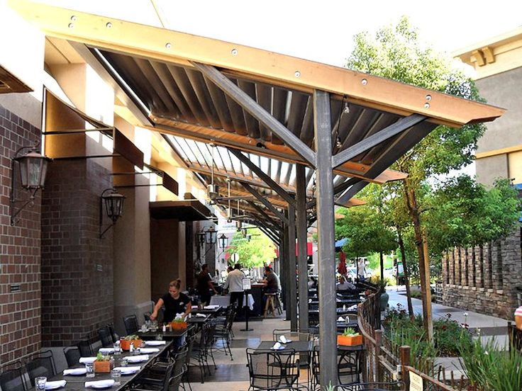 Commercial Louvered Patio Cover   like the metal posts and wood frame