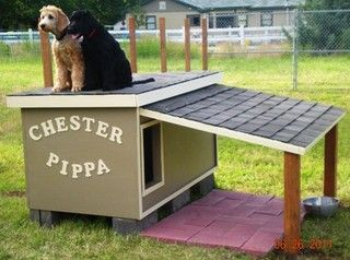 Great doghouse plans $29.99 Includes a hinged roof for venting in the summer and a wind block to help retain dog's body heat in the winter