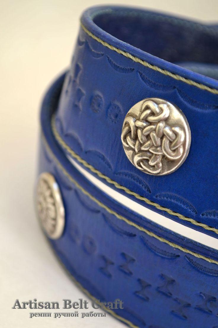 Купить Кожаный ремень ручной работы синий - синий, орнамент, ремень кожаный, ремень ультрамарин