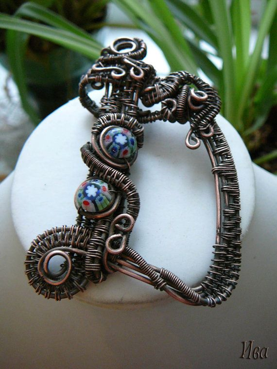Copper wire wrapped pendant  letter D by rainbowIVAart on Etsy, $85.00