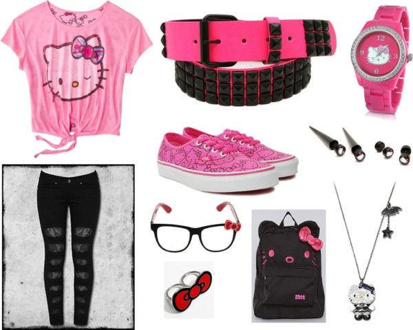 """Pink & Black Hello Kitty Back To School Outfit"" by xximamonsterxx on Polyvore"