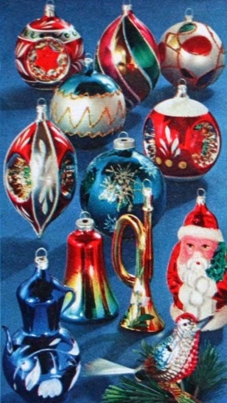 Bright and shiny vintage Christmas ornaments, Montgomery Ward Christmas Catalog 1964