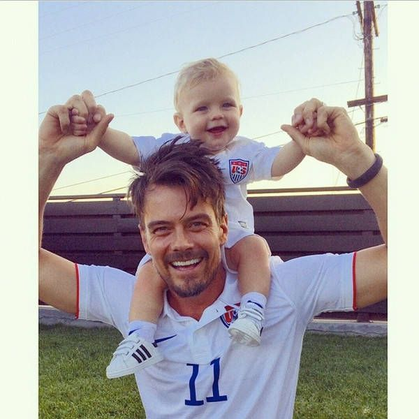"""Josh & Axl Jack Duhamel from Cutest Celeb Kids on Instagram  TheTransformers actor celebrates the 2014 World Cup with his oh-so-cute baby boy. """"GO #USA!!!,"""" the hunky dad wrote."""