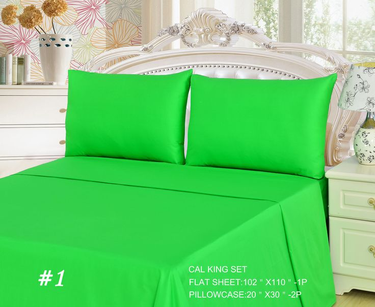 Tache 2 3 Piece Cotton Solid Lime Green Bed Sheet Flat