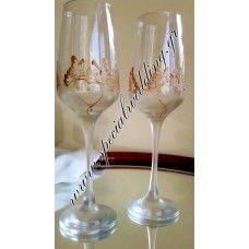 Ποτήρι σαμπάνιας γάμου χρυσές πεταλούδες 2 Hand painted wedding champagne flute Golden butterflies