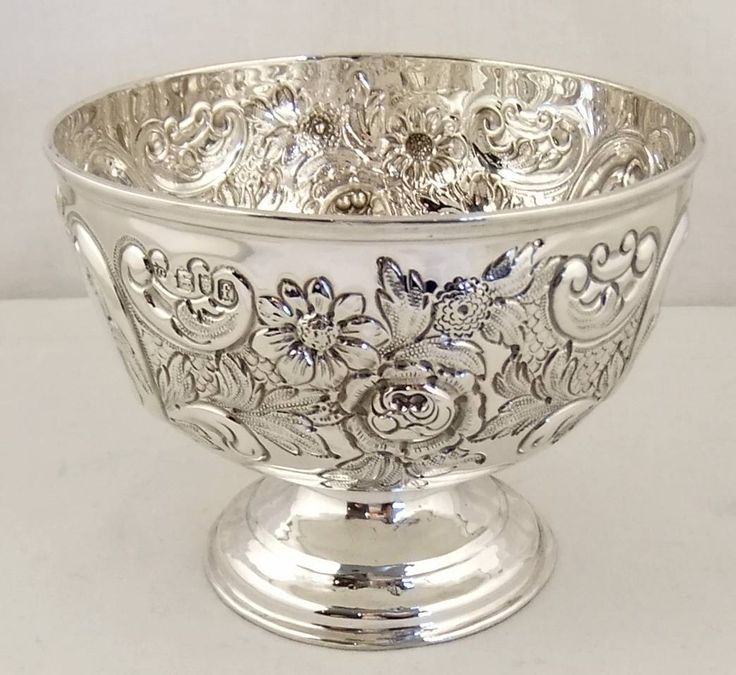 "Super embossed antique sterling silver bowl 4"" London 1901"