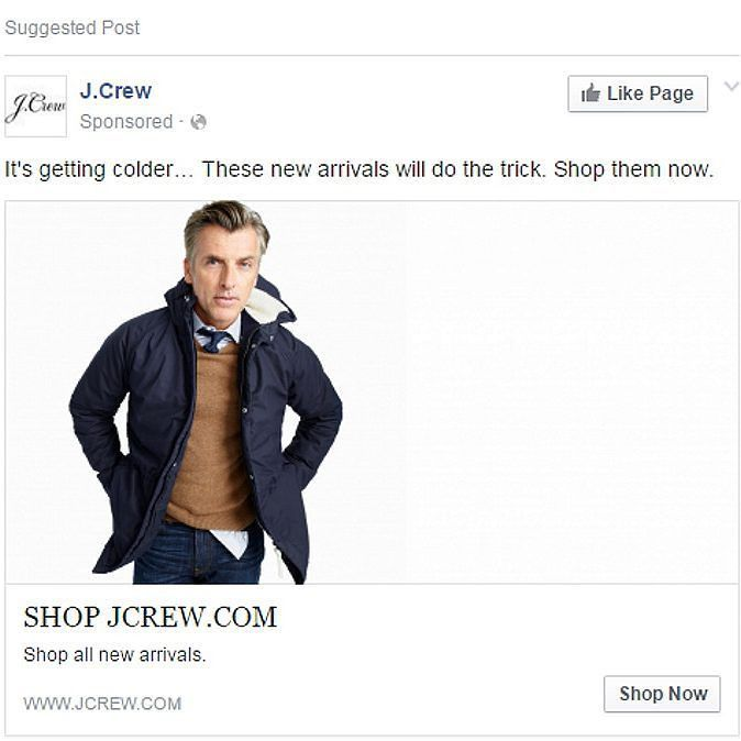 Kudos @jcrew! Totally convincing #photoshop job of a middle-aged businessman's head onto a 19 year old male model's body. #facebook #ad