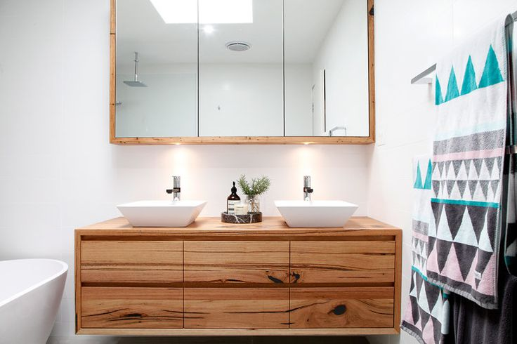 recycled timber vanity created from Messmate timber with lots of natural character- Iluka vanity by Bombora Custom Furniture Australia