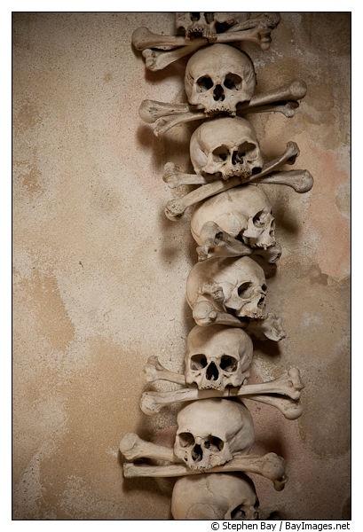 Stacked skulls and bones. Bone church, Sedlec, Czech ...
